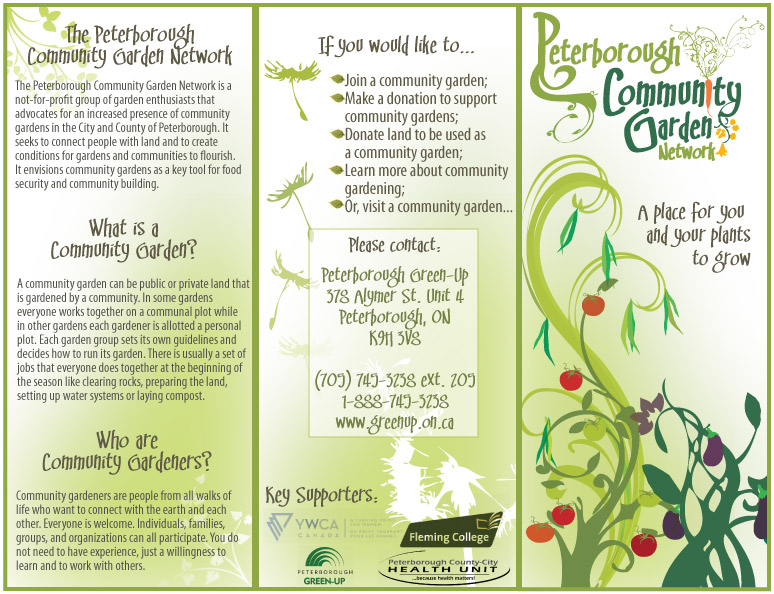 Peterborough Community Garden Network Brochure Exterior