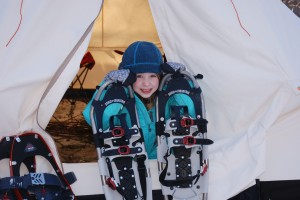 Kyla Callan models a pair of much-too-big snowshoes.