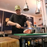 Brad prepares some of his dry-aged beef.
