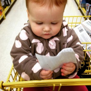 Daddy/baby shopping.  Clara's in charge of the list.