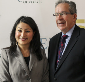 Ms. Monsef and The Honourable Jeff Leal '74, minister of Agriculture, Food and Rural Affairs and MPP of Peterbrough, at the Trent University's Institute for Environmental Studies launch. Samantha Moss/Mossworks Photography.