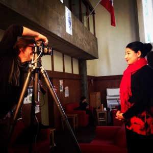 Michael Cullen takes Monsef's photo for the cover of TRENT Magazine.